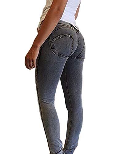alla Up Push Elasticizzati Fit Denim Matita Jeans Skinny Pantaloni Caviglia Donna GladiolusA Nero Grigio Slim Jeans AIxg8xqa