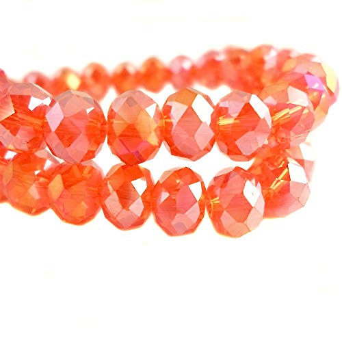 BeadsOne 8mm - 55 pcs - Glass Rondelle Faceted Beads Light Orange AB Orange for jewerly making findings handmade jewerly briolette loose beads spacer donut faceted Top Quality 5040 (AB C46) -
