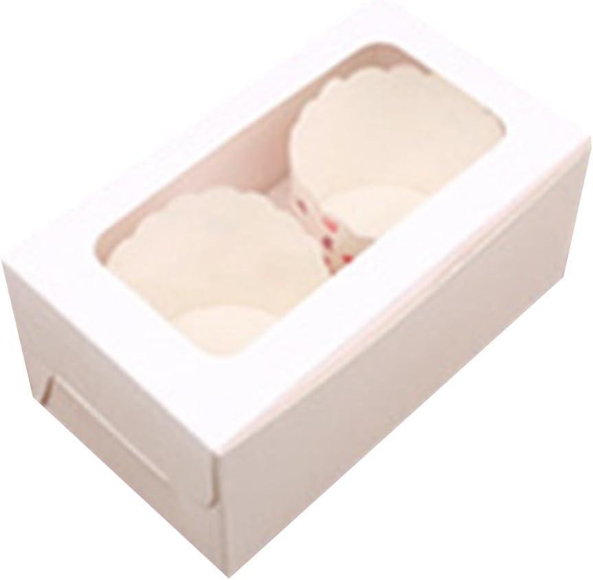 Blanco papel Kraft con ventana cartón Cajas para cupcakes con bandejas interior extraíble: Amazon.es: Hogar