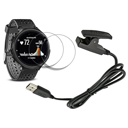 X1 for Garmin forerunner 235 Charger 230 630 Charging Clip Sync Data Cable + X2 FREE HD Tempered Glass Screen Protector for Garmin Foreruuner sports - Piece One Hd
