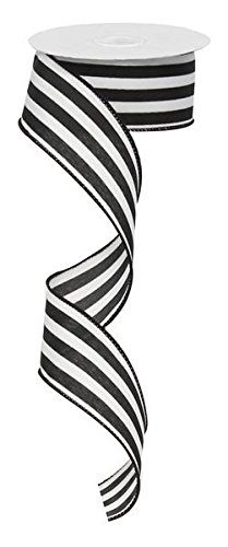 Vertical Stripe Wired Edge Ribbon - 10 Yards (Black, 1.5