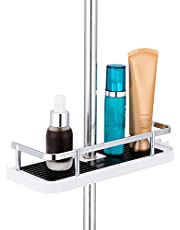 ASTOTSELL Bathroom Shower Shelf, Hanging Shower Rack No Drilling Needed Shower Pole Shelf with Buckle and Shower Head Hook for 19mm-25mm Shower Pole