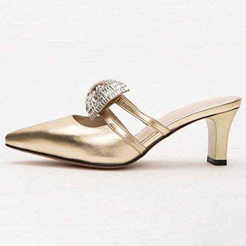 oro Scivolare Mules Donne su Sandali Heels Mode Zanpa xO40qSw