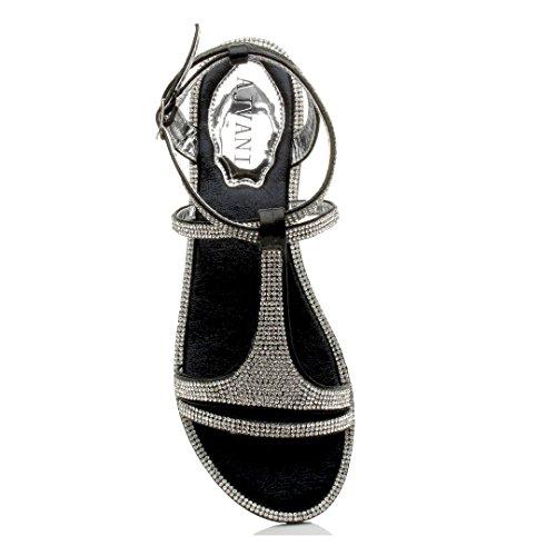 Plat Femmes Soir Taille Diamante t Cheville Noir Sandale Courroie Strappy de Bar BwwqOT