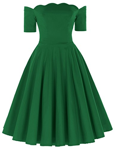 Green Scalloped (PAUL JONES Dark Green Scalloped Neckline Church Dresses Dress Party Picnic Dress (Green, L))