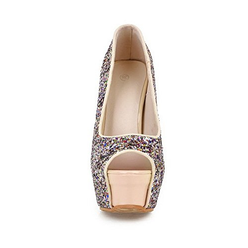 Adee Mujer Lentejuelas high-heels material suave sandalias Beige - rosa grisáceo claro