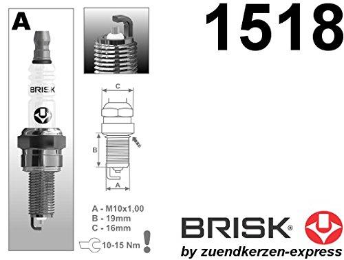 BRISK Silver Racing AR12YS 1518 Bujías de Encendido LPG CNG Autogas, 4 piezas: Amazon.es: Coche y moto