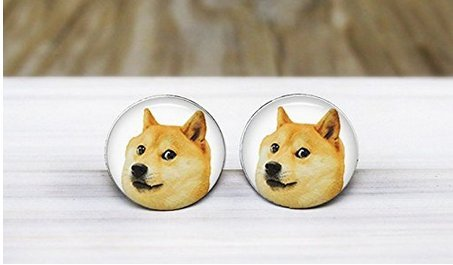 Doge Meme Earrings - Handmade Hypoallergenic Silver Stud Earrings - Surgical Steel Hypoallergenic Earrings - Nickel (Halloween Teachers Meme)