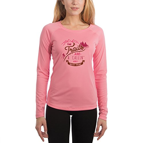 Trail Runner Tech Tee - The Trails are Calling Women's UPF 50+ Long Sleeve T-Shirt X-Small Pretty Pink