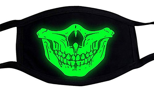 Maze Fun Black Cotton Green Glow In The Dark Skull Teeth Nose Half Face Masks, 2- One Size