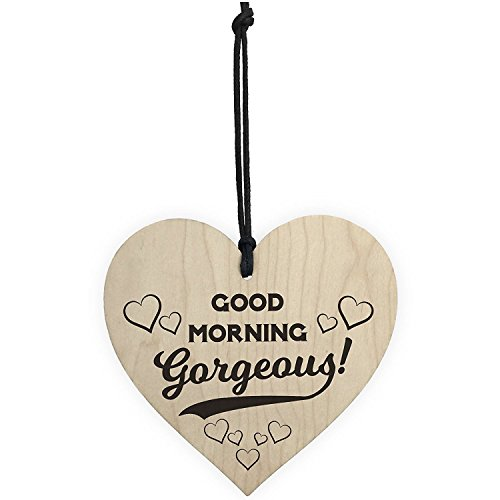 SODIAL(R) Good Morning Gorgeous Wooden Hanging Heart Plaque Sign Love Anniversary - Good R