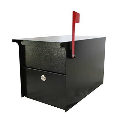 Mail Protector Vault DVCS0070 Locking Post-Mount Mailbox (Black) ()