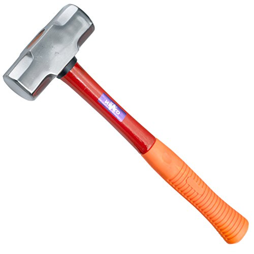 Neiko 02867A Fiberglass Sledge Hammer, Heavy-Duty Forged Steel | Rubber Grip | Mirror Polished Head | 3.3-Pound (Mallet Steel)