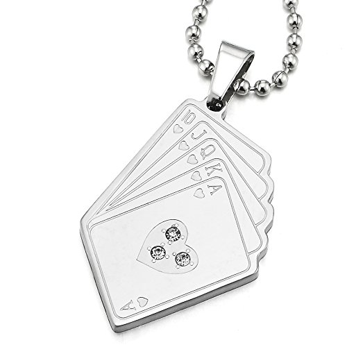 (COOLSTEELANDBEYOND Steel Royal Flush Hearts Card Poker Pendant Necklace with CZ for Man with 23.6 in Ball Chain)