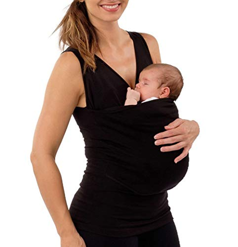 Maternity Blouse Kangaroo Care Mom Dad Multi-Functional Tee Clothes Baby Round Neck Casual Wrap T-Shirt Baby Carrier Wrap Short Sleeve Top (Mom Black, ()