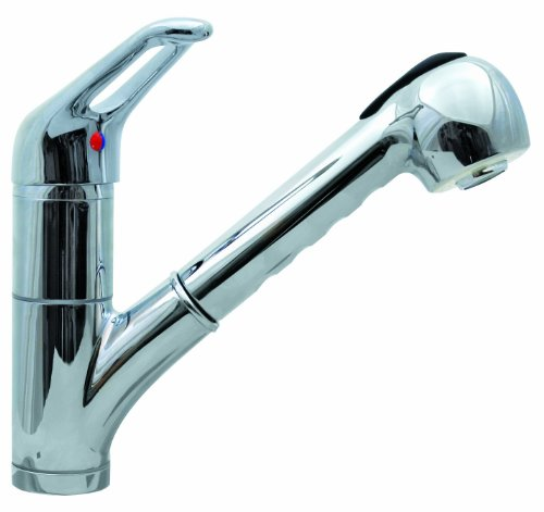 (Aqua Plumb 1558020 CUPC AB1953 Kitchen Sink Faucet with Pull-Out Sprayer by Aqua Plumb | Polished Chrome Single Handle Kitchen Faucet, Single or 3 Hole Installation )