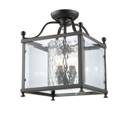Z-Lite 177-3SF-M Fairview 3 Light Semi-Flush Mount, Metal Frame, Bronze Finish and Clear Beveled Outside Glass - 3 Light Beveled Glass