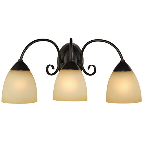 Hardware House Berkshire Series 3 Light Oil Rubbed Bronze 20-1/4 Inch by 8-3/4 Inch Bath / Wall Lighting Fixture : 16-8397