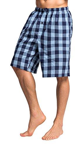 CYZ Men's 100% Cotton Plaid Poplin Woven Lounge/Sleep (Mens Shorts Short Pants)