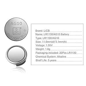 LiCB 20 Pack LR1130 AG10 Battery 1.5V Long-Lasting Alkaline Button Cell Batteries
