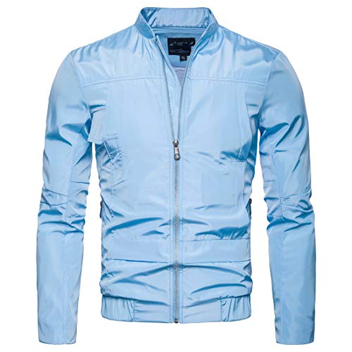 Zipper Jacket Sky Men Collar Coats Blue Mandarin XINHEO Relaxed Waterproof wHtqnpx7U