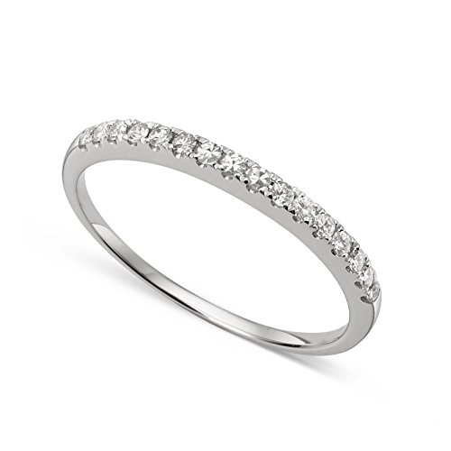 Total Lab Ct (14k White Gold 1.3mm Round Forever Classic Moissanite Wedding Band Ring Size 7 by Charles & Colvard)