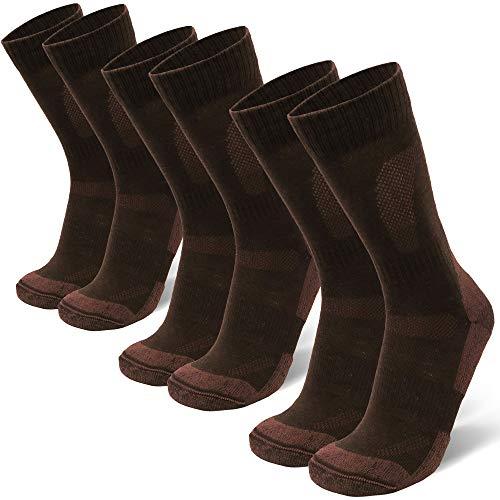 Merino Wool Hiking & Walking Socks 3 pack (Oak Brown, US Women 8-10 // US Men 6.5-8.5)