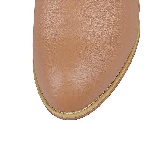 Solid Womens Apricot Kitten PU Top Heels Boots AllhqFashion Low Zipper f1UI7w6wq
