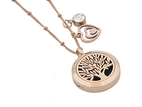 Rose Gold Tree of Life Essential Oil Diffuser Necklace -Aromatherapy Pendant-316L Stainless Steel Perfume Fragrance Jewelry for Women-20 Chain+8 Washable Felt Pads+2 Charms by Wonlee Winle (Image #1)