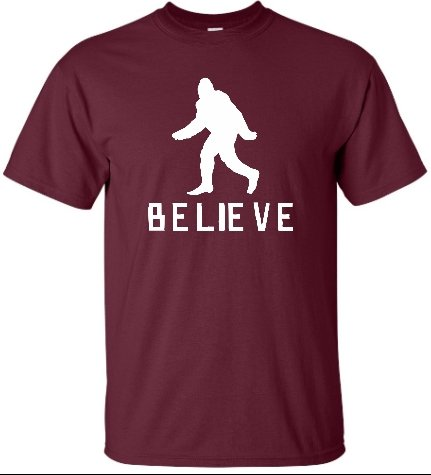 Adult Maroon Bigfoot Believe Sasquatch T-Shirt - 5XL