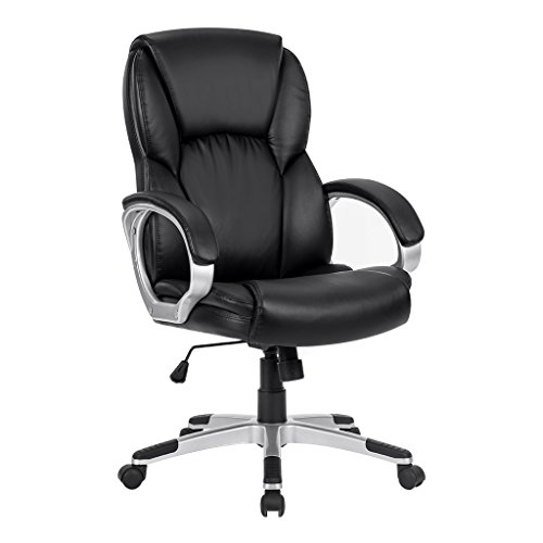 -[ LANGRIA Mid-Back Faux Leather Computer Executive Office Chair, Modern and Ergonomic Design, Adju