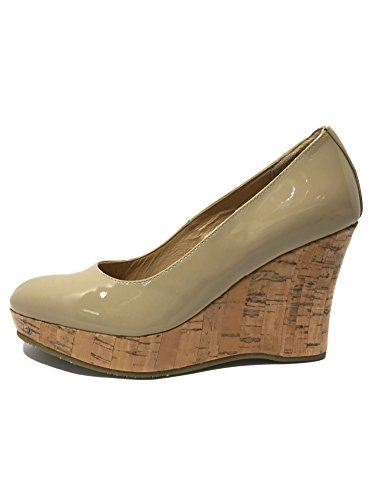 Toe High Heel Wedges Beige 4 Ladies Formal Candice Closed Size 8 Moon Cork Leather Womens Patent Slip 3 On Casual Patent 7 Platform Court 6 Vanilla Sandals Wedge w 5 q0Rt6x