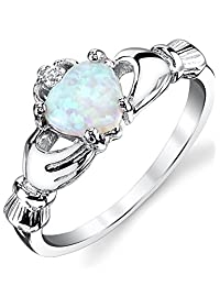 Metal Masters Co. Sterling Silver 925 Irish Claddagh Friendship & Love Ring with Blue Simulated Opal Heart