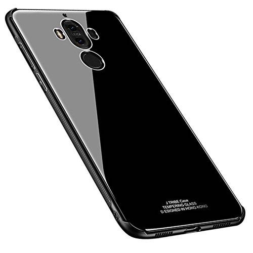 Kepuch Quartz Huawei Mate 9 Case - TPU + Tempered Glass Back Cover for Huawei Mate 9 - Black