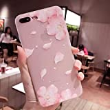 1 PC Beautiful Lace Petals Soft Case for iPhone 7 Case Frosted Transparent Silicone Cover for iPhone 6 6S 7 8 X Plus Phone Case Women (iPhone 6 6S)