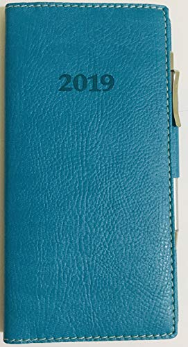 2019 Italian Bonded Leather Teal Weekly Pocket Planner Engagement Calendar with Pen