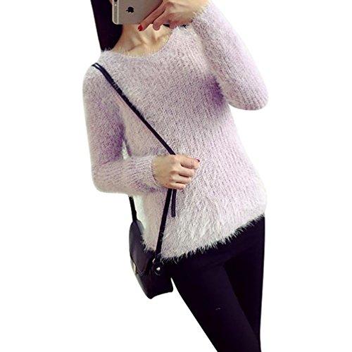 YOUJIA Sueter Tejido de Mujer Jerseys de Punto Mohair Mujeres Jersey Pullover Sueteres Tejidos Redondo Cuello Sueters para Dama Invierno Morado