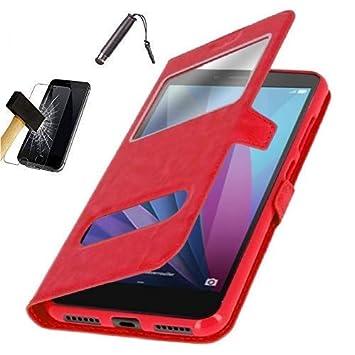 Funda Carcasa Rojo con Ventanas para Samsung Galaxy J6 Plus / J6+ (6