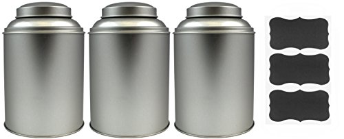 Round Stackable Tea Tin (3-Pack), Canisters with Dual Lid and Chalk Labels for Loose Leaf Tea Storage, Coffee Beans and Dried Goods (Loose Leaf Tea Storage Containers compare prices)