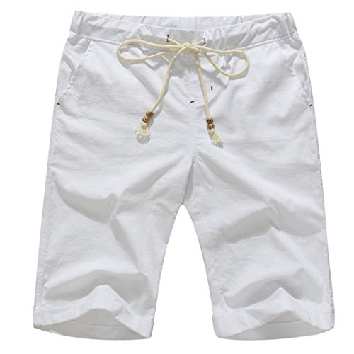 Shorts White Clothing Mens Casual - Boisouey Men's Linen Casual Classic Fit Short Summer Beach Shorts White XL