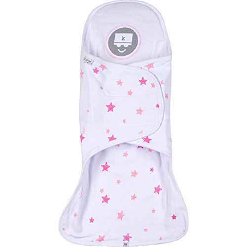 Kepi Support Swaddle System - With Patented Head, Neck And Spine Support – Hip-Healthy Approved Swaddle Wrap For Newborns, Lounger Included (Pink Stars/Pink Lounger)