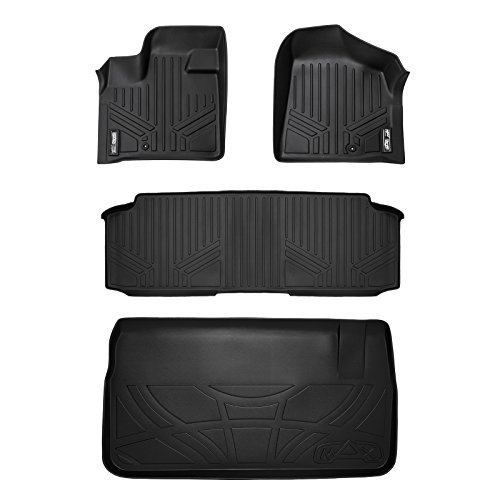 SMARTLINER Floor Mats 2 Rows and Cargo Liner Behind 3rd Row Set Black for 2008-2018 Caravan / Town & Country with 2nd Row Bench Seat
