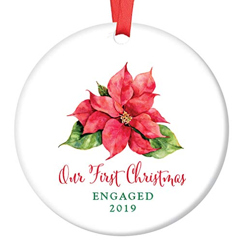 First Christmas Engaged Ornament 2019 Pretty Poinsettia Engagement Party Keepsake Present 1st Holiday Future Mr & Mrs Wedding Bride Groom 3