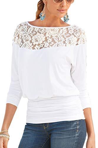 Autunno Le Camicie Top White Casual Manica dei Tunica Lunga di Pizzo q8Sdxaq
