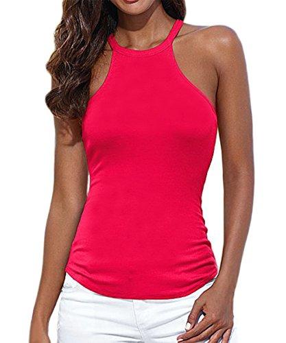 AJ FASHION - Camiseta sin mangas - cuello hálter - Básico - Sin mangas - para mujer Rosso