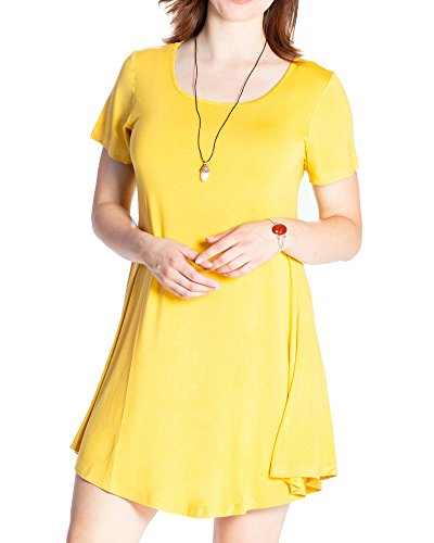 Yellow Tunic Dress (JollieLovin Women's Tunic Casual Short Sleeve Swing Loose T-Shirt Dress (Yellow, 2X))