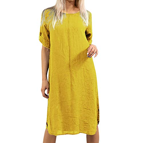 Qingell Dress,Women's Summer Casual Loose T-Shirt Dresses Short Sleeve Swing Dress O-Neck Cotton Pocket Dress Yellow