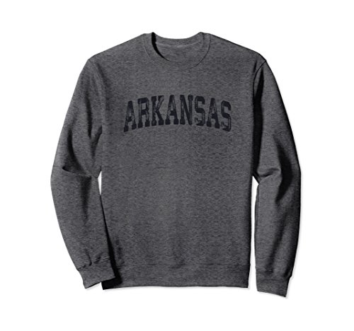 Unisex Vintage Arkansas Crewneck Sweatshirt College Style Sports US XL: Dark Heather