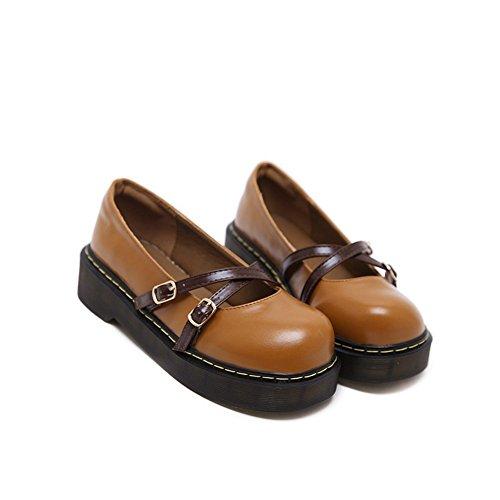 T-juli Kvinna Mode Oxfords Skor - Bekväma Slip På Mitten Häl Rund Tå Spänne Skor Brun