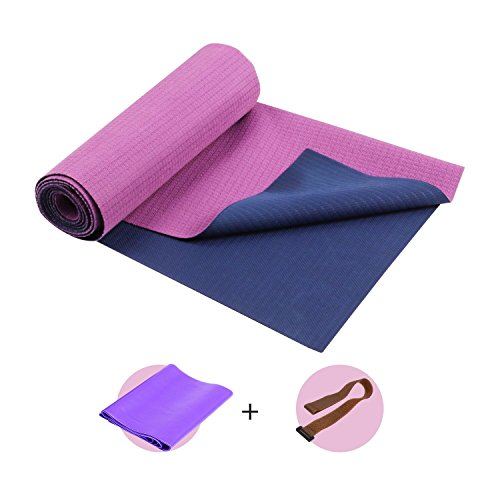 FrenzyBird 1mm Travel Yoga Mat/Towel with Mat Bind and Elastic String,Non-Slip,Light weighted,Foldable,Eco Friendly,Ideal for Hot Yoga,Bikram,Pilates,Barre, Sweat by FrenzyBird